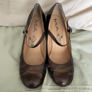 "MIA BronzeBrown AnkleStrap CutoutDesign 3.5"" Heels"